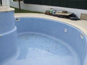 fim da reconstrução da piscina