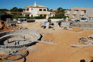 construção de piscinas de raíz